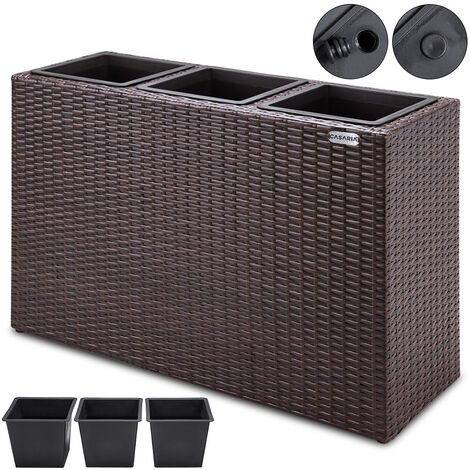 Deuba Poly Rattan Plant Flower Pot 83x30.5x60cm Black Brown Cream Outdoor Garden