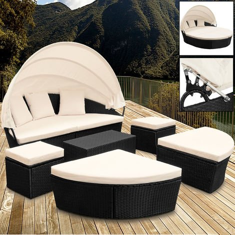 Deuba Poly Rattan Sun Day Bed Garden Furniture with Table and Canopy Black Outdoor Patio Sofa Lounger Set