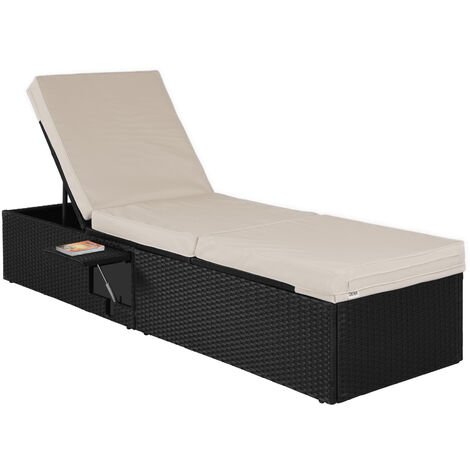 Deuba Poly Rattan Sun Lounger | Single Garden Furniture | Black Adjustable Day Bed | Recliner | Folding Table