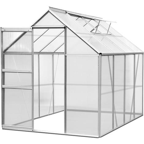 Deuba Polycarbonate Greenhouse Aluminium 6x8ft Walk-In Plants Grow