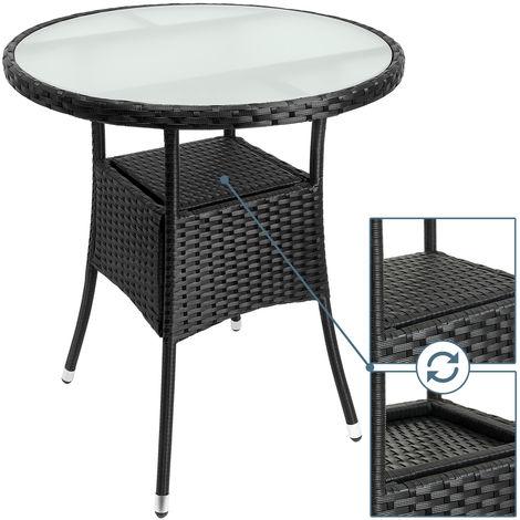 Polyrattan Tisch Mit Glasplatte.Deuba Polyrattan Tisch Rund ø 60cm Schwarz Beistelltisch