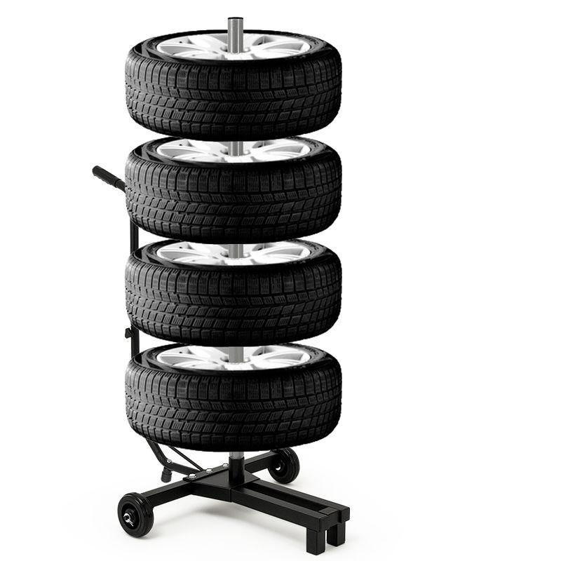 225 mm di larghezza e max Porta pneumatici Carrello ad albero per conservare ruote complete e pneumatici per auto fino a max Dimensioni carrello: 116 x 53 x 79 cm 66 cm di diametro