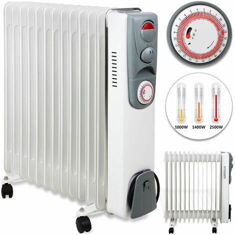 Deuba® Radiador de aceite Calefactor calefacción eléctrica 2500W Temporizador