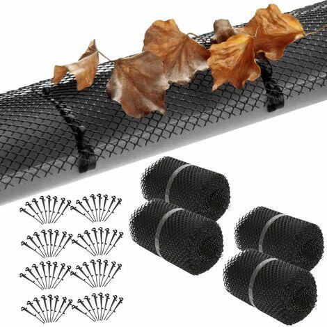 Deuba Rejilla protectora para hojas canalón con 64 clips malla de 24 metros protector para canalones recortable flexible