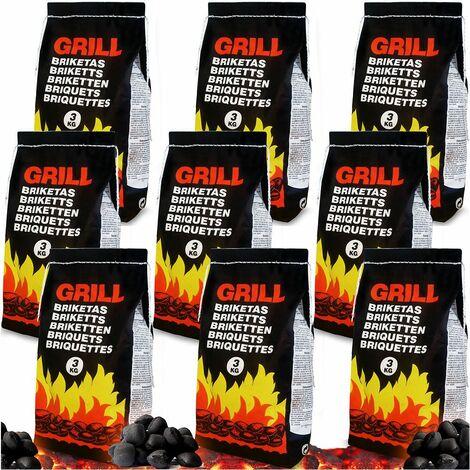 Deuba Sacchi di bricchetti 27kg bricchette di carbone barbecue carbonella 9 sacchi x 3kg