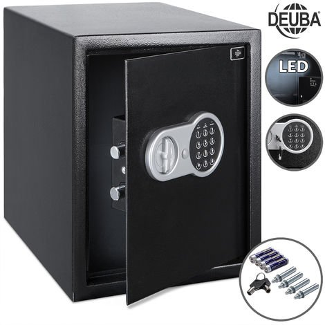 Deuba Safe Large 56L Interior Lighting Illuminated Value Document Safes Black Home Office Steel 35x40x40 cm