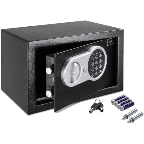 Deuba Safe Small 13L Value Safes Black Home Office Steel 31x20x20cm Digital Keypad Emergency Override Key