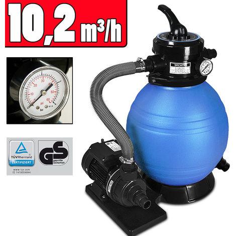 Deuba Sandfilteranlage 10 m³/h Poolfilter Filteranlage Filterkessel Sandfilter