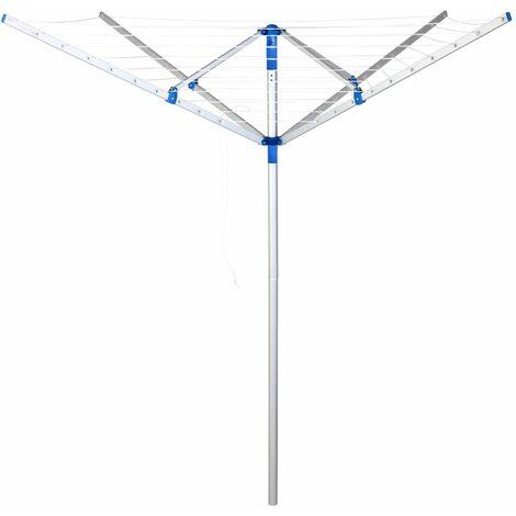 Deuba - Séchoir à linge parapluie - Etendoir à linge pliable • Séchoir rotatif - aluminium • 4 Bras porteurs • 4 pieds • pliant • Hauteur réglable