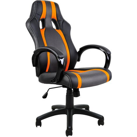 Sedie Da Ufficio Arancione.Deuba Sedia Da Ufficio Design Sportivo Stile Racing Ecopelle Nera