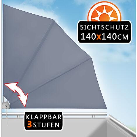 Deuba Separador lateral plegable de balcón de forma de abanico 140 x 140 cm ajustable - color a elegir