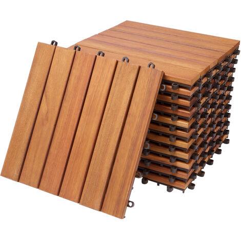 """Deuba Set de 11 baldosas """"Clásico"""" de madera de Eucalipto 30 x 30 cm por 1m² losas de terraza jardín balcón spa"""
