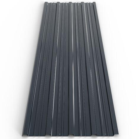 "main image of ""Deuba Set de 12 chapas perfiladas gris de 7m² 129 x 45 cm para techo o pared exterior bricolaje paneles para tejado"""