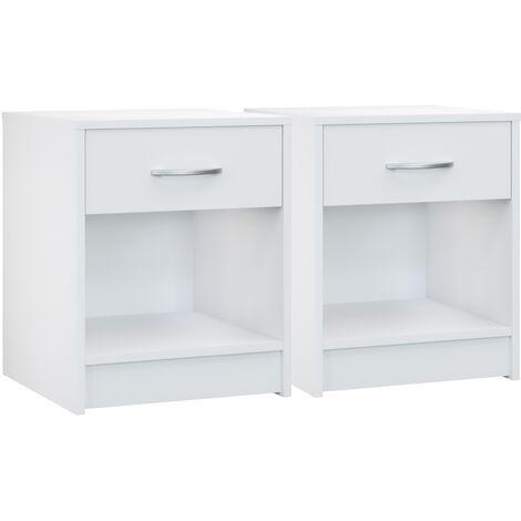 Deuba Set de 2 mesitas de noche con cajón Blanca 50x40x35 cm mesa auxiliar para libros dormitorio