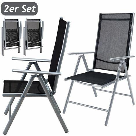Deuba Set de 2 sillas plegables con respaldo alto y ajustable de aluminio resistente a la intemperie jardín exterior