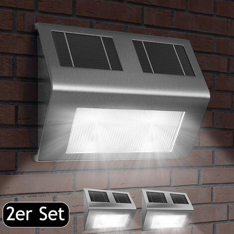 Deuba Set de 2x Lámparas solares LED de Acero inoxidable para pared exterior caminos sin cables con interruptor jardín