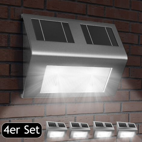 Deuba Set de 4x Lámparas solares LED de Acero inoxidable para pared exterior caminos sin cables con interruptor jardín
