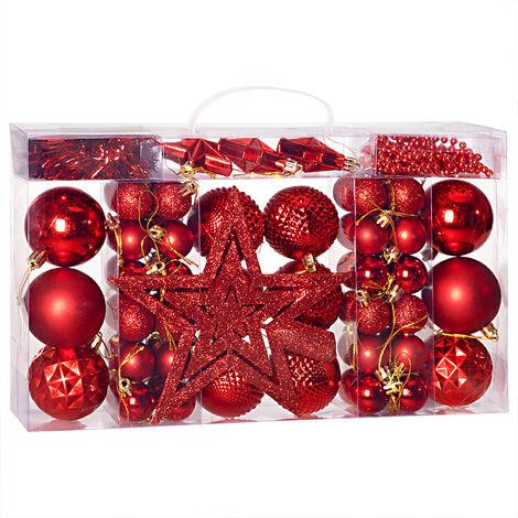 Deuba Set de diferentes adornos bolas de navidad 54/66/77/100/102/103 decoración