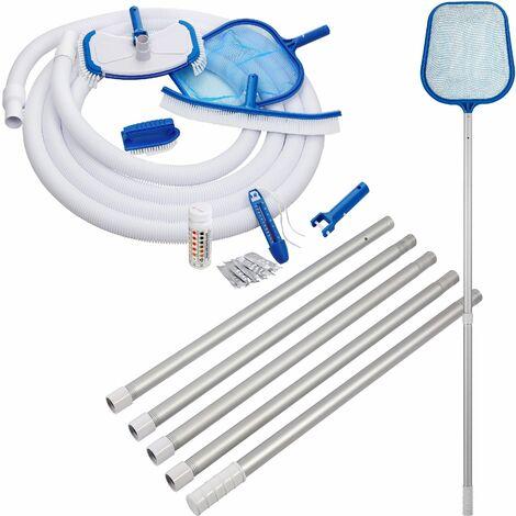 DEUBA - Set de nettoyage pour piscine 8 pièces - Brosse de nettoyage - Epuisette - Brosse de bassin - Brosse à main - Tige télescopique - Testeur de piscine - Entretien