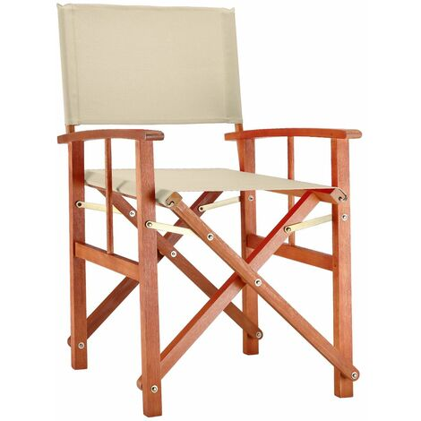 "Deuba Silla plegable ""Cannes"" de madera de eucalipto con fundas extraíbles lavables Silla de jardín director color"