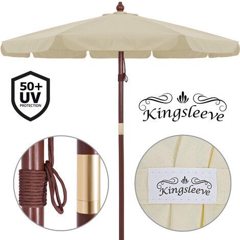 Deuba Sombrilla con palo de madera en 2 partes Ø 330cm impermeable protección UV 40+ exterior jardín - color a elegir