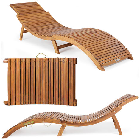 Deuba Sonnenliege Akazien Holz Faltbar Kofferfunktion Kurvig