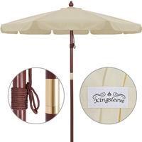 Deuba® Sonnenschirm • Holz • Ø 350cm • Beige • stabile Verstrebungen • wasserabweisend - Gartenschirm Terrassenschirm Marktschirm Holz-Sonnenschirm