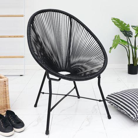Deuba String Moon Chair Black Outdoor Garden Patio Steel Tube Frame Classic Mexico Chairs