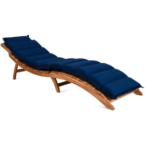 Deuba Sun Lounger Cushions 183 x 56 x 7 cm With Pillow Ties Water Repellent Detex Covers