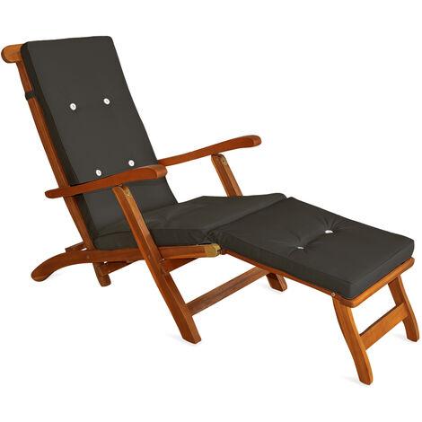Deuba Sun Lounger Cushions Waterproof Steamer Recliner Relaxer Ties Cushion Seating Pads 173 x 43 cm