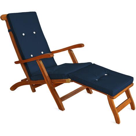 "main image of ""Deuba Sun Lounger Cushions Waterproof Steamer Recliner Relaxer Ties Cushion Seating Pads 173 x 43 cm"""