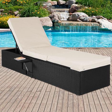 Deuba Sun Lounger Poly Rattan Single 195 cm incl. Cushions & Flip Table