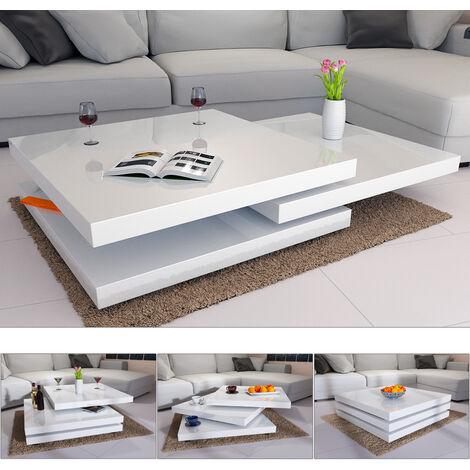 Deuba Table Basse de Salon 80x80cm ou 60x60cm carré Moderne Blanc ou Noir rotative 360° Brillante et laquée Charge Max. 20 kg Design innovant Table intérieur
