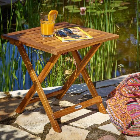 """main image of """"Table basse pliante en bois - Tables jardin d''appoint - 46x46cm pliable - Acacia"""""""