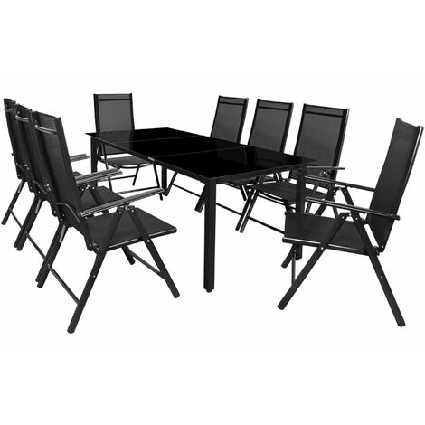 Deuba Table Chairs Set Garden Patio Modern Outdoor Dining Furniture Bern Aluminum Frame Glass Table Top 8 Seater Reclining Folding Silver Anthracite