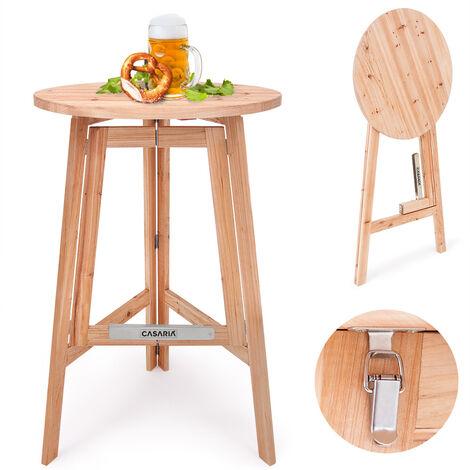 Deuba Table haute pliable en bois massif naturel - Mange debout • Ronde • Pliante • Ø 78cm - Hauteur 111cm • Cuisine - Jardin - Terrasse - Cocktail