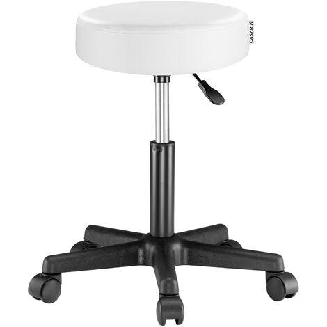 Deuba Taburete giratorio silla de trabajo 52 x 52 cm Altura regulable 42-56 cm cuero artificial asiento acolchado