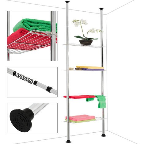 Deuba Telescopic Shelf Bathroom Storage Shelving Unit Rack Kitchen Extendable Interlocking Display Bookshelf Room Divider Tiers No Drilling 4 Tiers