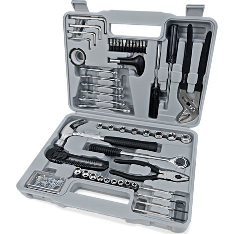 Deuba Tool Set 141 Tools With Box Spanner Set and Socket Kit Wrench Screwdriver Toolbox Toolkit for Home DIY