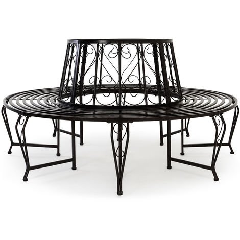 Deuba Tree Seat bench made of powder coated steel Garden Outdoor Round Tree benches Diameter 160cm