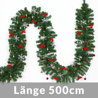 Deuba Weihnachtsgirlande Tannengirlande Tannenzweiggirlande Weihnachtsdeko Weihnachts Girlande 5 m 80 LED's mit Deko Glöckchen, Sterne und Schleifen In- & Outdoor