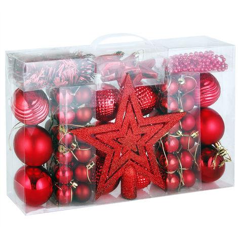 Aufhänger Für Christbaumkugeln.Deuba Weihnachtskugeln Rot 66 Christbaumschmuck Aufhänger