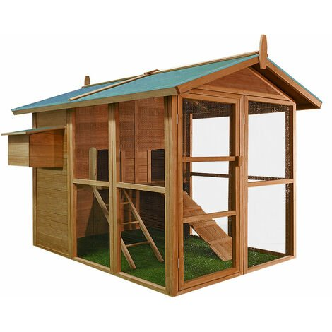 Deuba Wooden Chicken Coop 148 x 151 x 148 cm Brown House Hen Poultry Rabbit Chicken Run Nest Box
