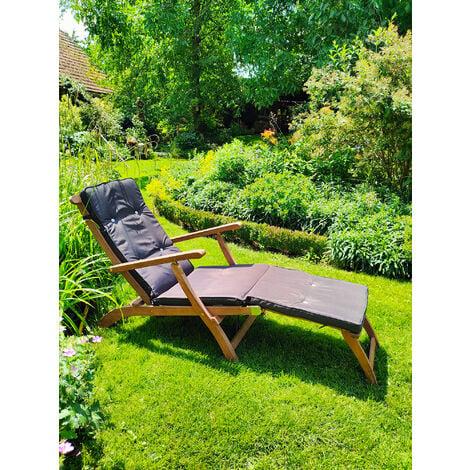 Deuba Wooden Deck Chair Patio Garden Outdoor Recliner Sun Lounger Hard Wood Reclining Day Bed (1x)