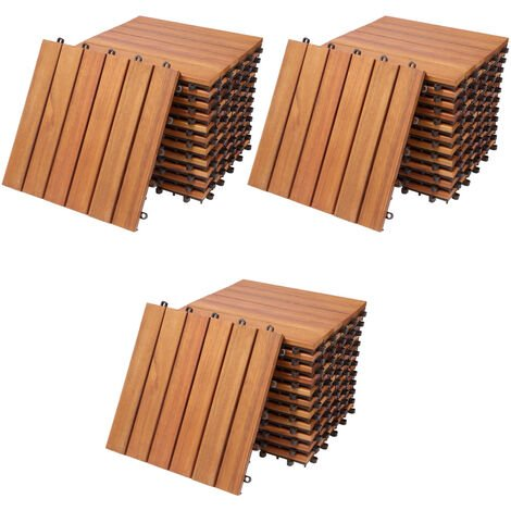 Deuba Wooden Decking Tiles 3m³ Pack of 33 Interlocking Terrace Garden Balcony