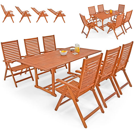 Deuba Wooden Dining Set Chairs Table FSC®-Certified Eucalyptus Wood Unikko 6 Seater