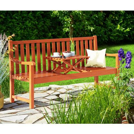 Deuba Wooden Garden Bench FSC®-Certified Eucalyptus Wood Folding Table