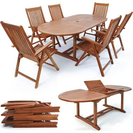 Deuba Wooden Garden Dining Table and Chairs Set FSC® certified Eucalyptus Wood Outdoor Patio Conservatory Oval Furniture 6 Seater