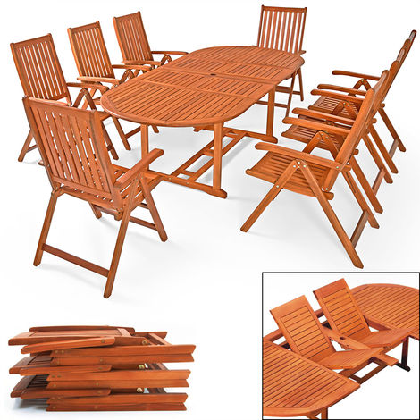 Deuba Wooden Garden Furniture Set FSC®-Certified Eucalyptus Wood 8 Seater Dining Table and Chairs Set Moreno