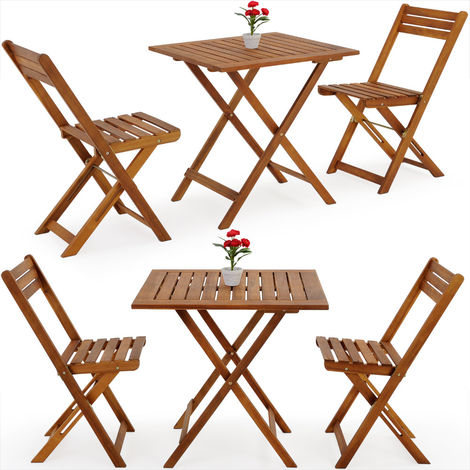 Deuba Wooden Table Chairs Set Garden Furniture Balcony Outdoor Patio 2 Seater